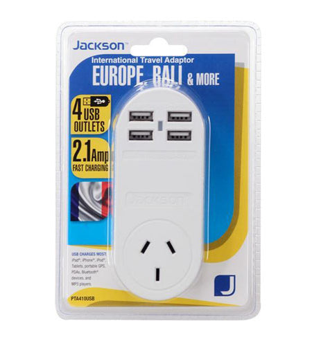 JACKSON Outbound Travel Adaptor With 4x USB Charging Port, Converts NZ/Aust Plugs for use in Europe & Bali