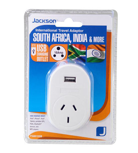 JACKSON Outbound Travel Adaptor. With 1x USB Charging Port. Converts NZ/Aust Plugs for use in South Africa & Parts of India.