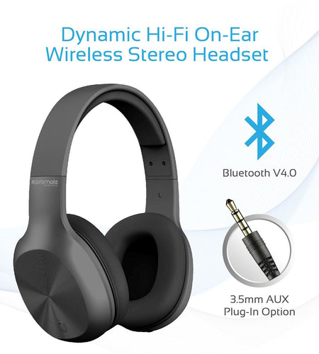 PROMATE On-Ear Bluetooth Stereo Headset Black