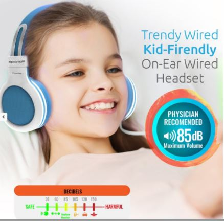 PROMATE Universal on ear Wired Headset with Soft Cushioned Adjustable Headband Colour Blue
