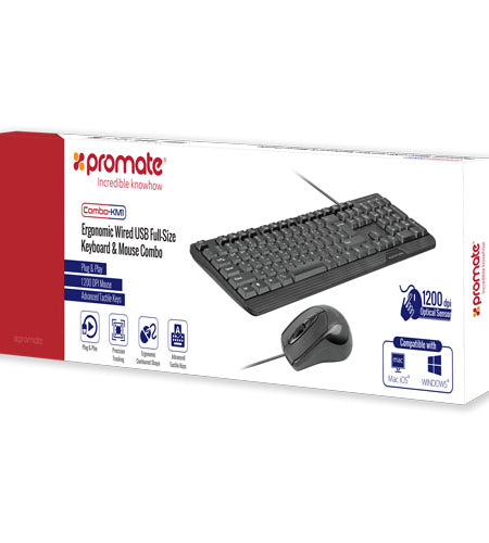 Ergonomic Wired USB Mouse & Keyboard Combo for Windows or Mac