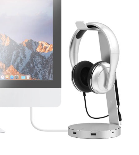 "mbeat ""ZACK"" Aluminium Headphone Stand with 3.0 Hub and Audio"