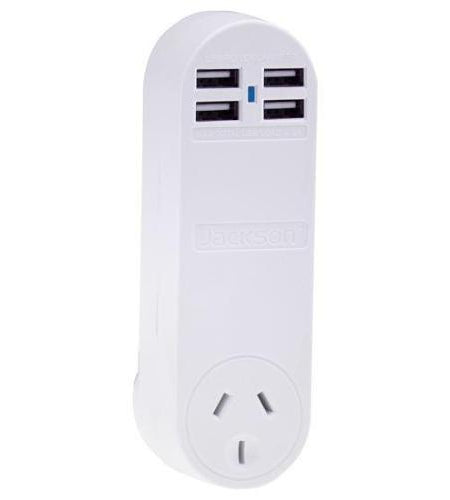 JACKSON Single Plug Wall 4x USB Charging Outlets