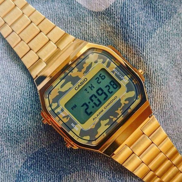 CASIO Vintage Camouflage Gold Watch A168WEGC-5EF