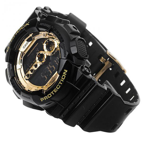G-Shock Black & Gold Watch GD-100GB-1