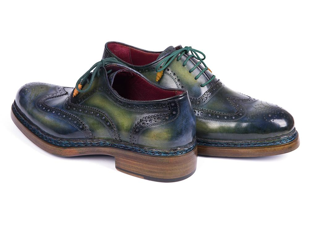 Paul Parkman Triple Leather Sole Wingtip Brogues Green & Blue (ID#0225TRP-GRN)