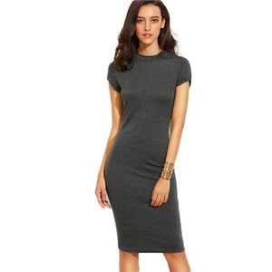 Women's Bodycon Short Sleeve Crew Neck Knee Length Dress