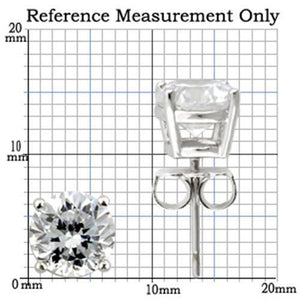0W173 Rhodium 925 Sterling Silver Earrings with AAA Grade CZ in Clear