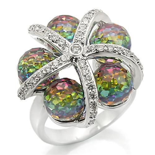 0W299 Rhodium Brass Ring with Top Grade Crystal in Multi Color