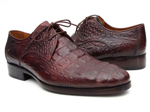 Paul Parkman Men's Brown & Bordeaux Crocodile Embossed Calfskin Derby Shoes (ID#1438BRD)