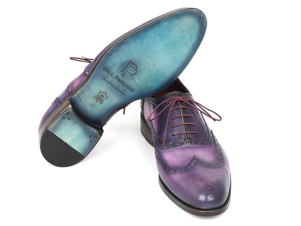 Paul Parkman Wingtip Oxfords Purple & Navy Handpainted Calfskin (ID#743-PURP)
