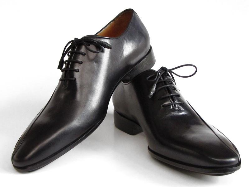 Paul Parkman Black Leather Oxfords Side Handsewn (ID#018-BLK)
