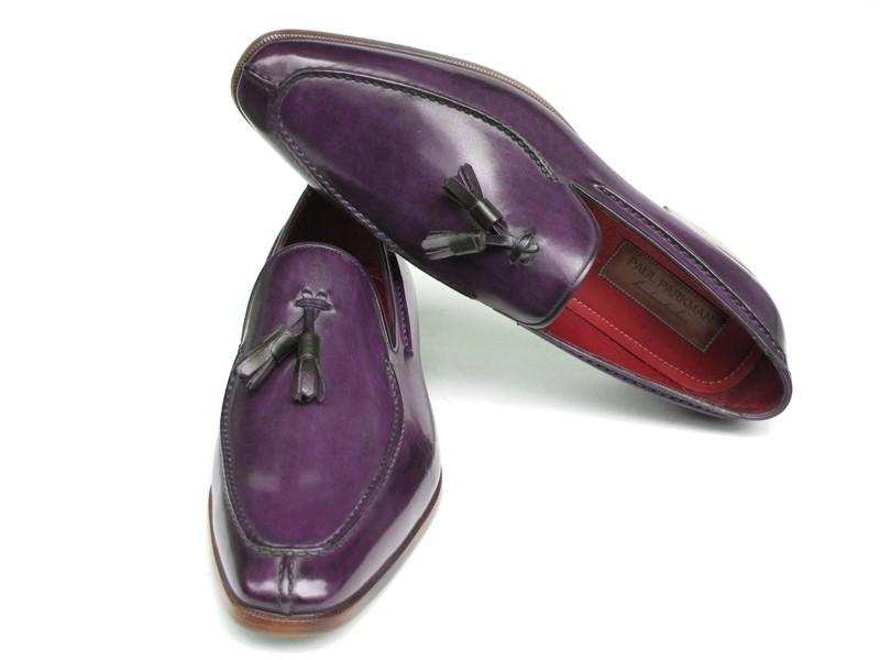 Paul Parkman Men's Tassel Loafer Purple Hand Painted Leather (ID#083-PURP)