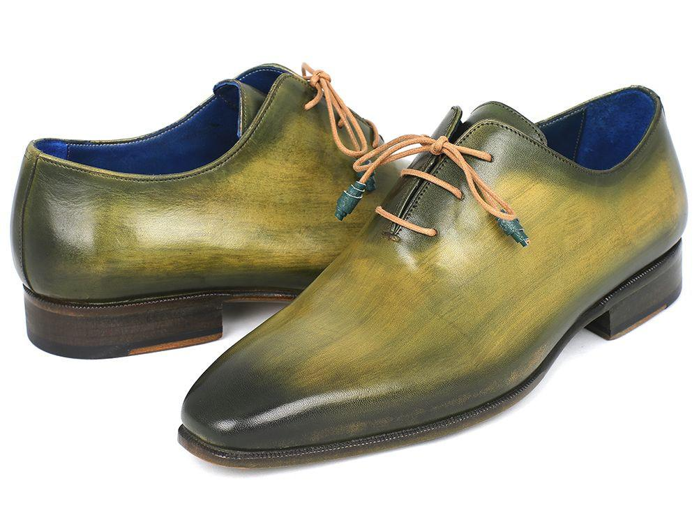 Paul Parkman Plain Toe Wholecut Oxfords Green Hanpainted Leather (ID#755-GRN)
