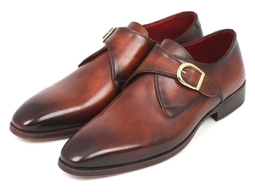 Paul Parkman Monkstrap Dress Shoes Brown & Camel (ID#011B44)
