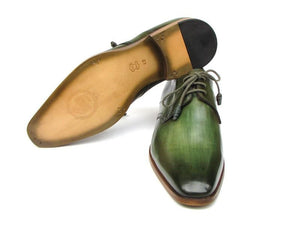 Paul Parkman Green HandPainted Derby Shoes (ID#059-GREEN)