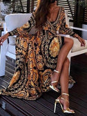 Deep V-Neck Full Sleeve Printed Party Evening Dress