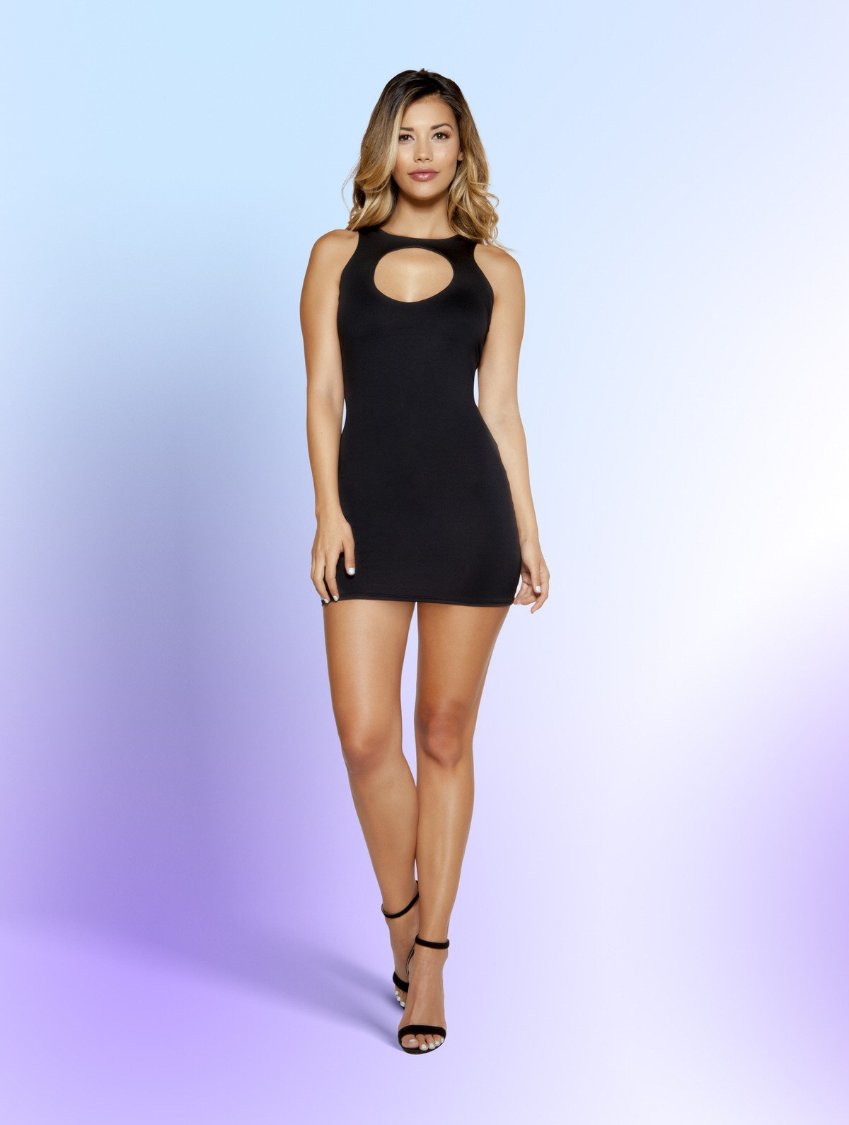 3346 - Partially Lined Mini Dress with Circular Cutout Detail