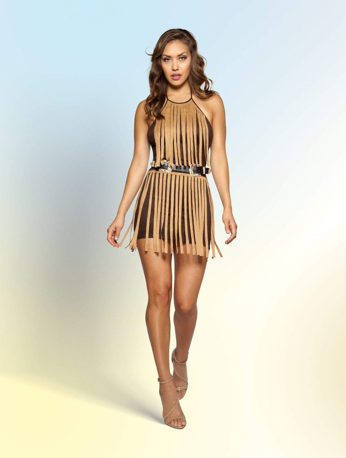 3357 - Suede Dress with Fringe Detail