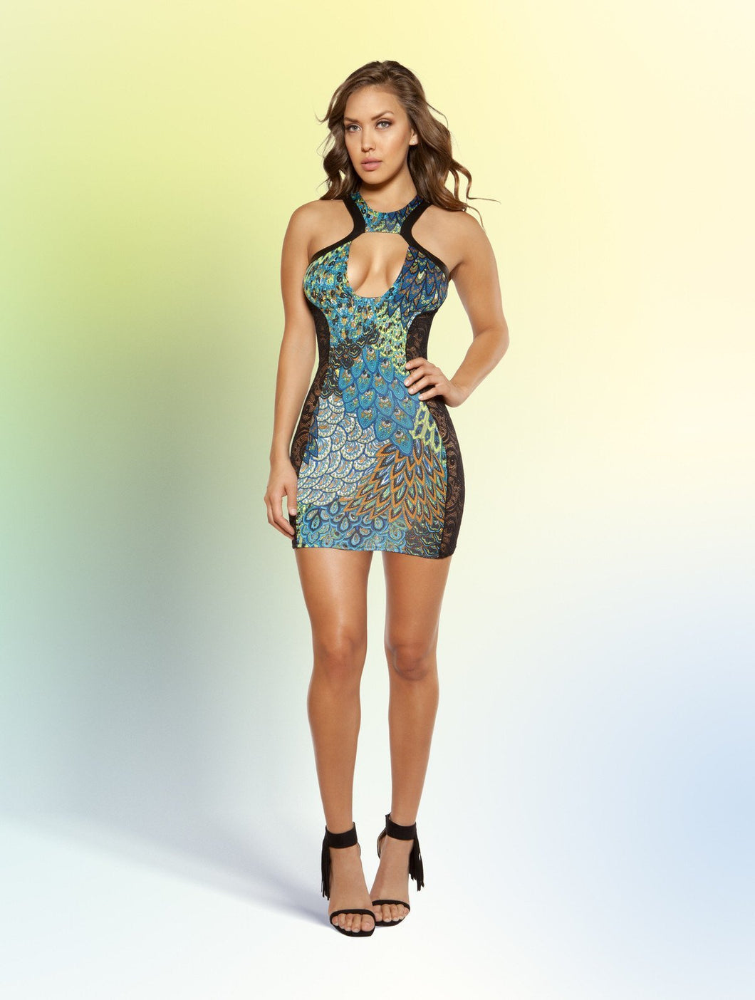 3383 - Cutout Printed Dress with Lace Sides, Women's Fashion - Women's Clothing - Mini Dresses - Smash Marketing