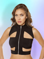 3410 - Cutout Crop Top with Zipper Closure