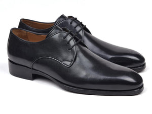 Paul Parkman Men's Black Leather Derby Shoes (ID#34DR-BLK)
