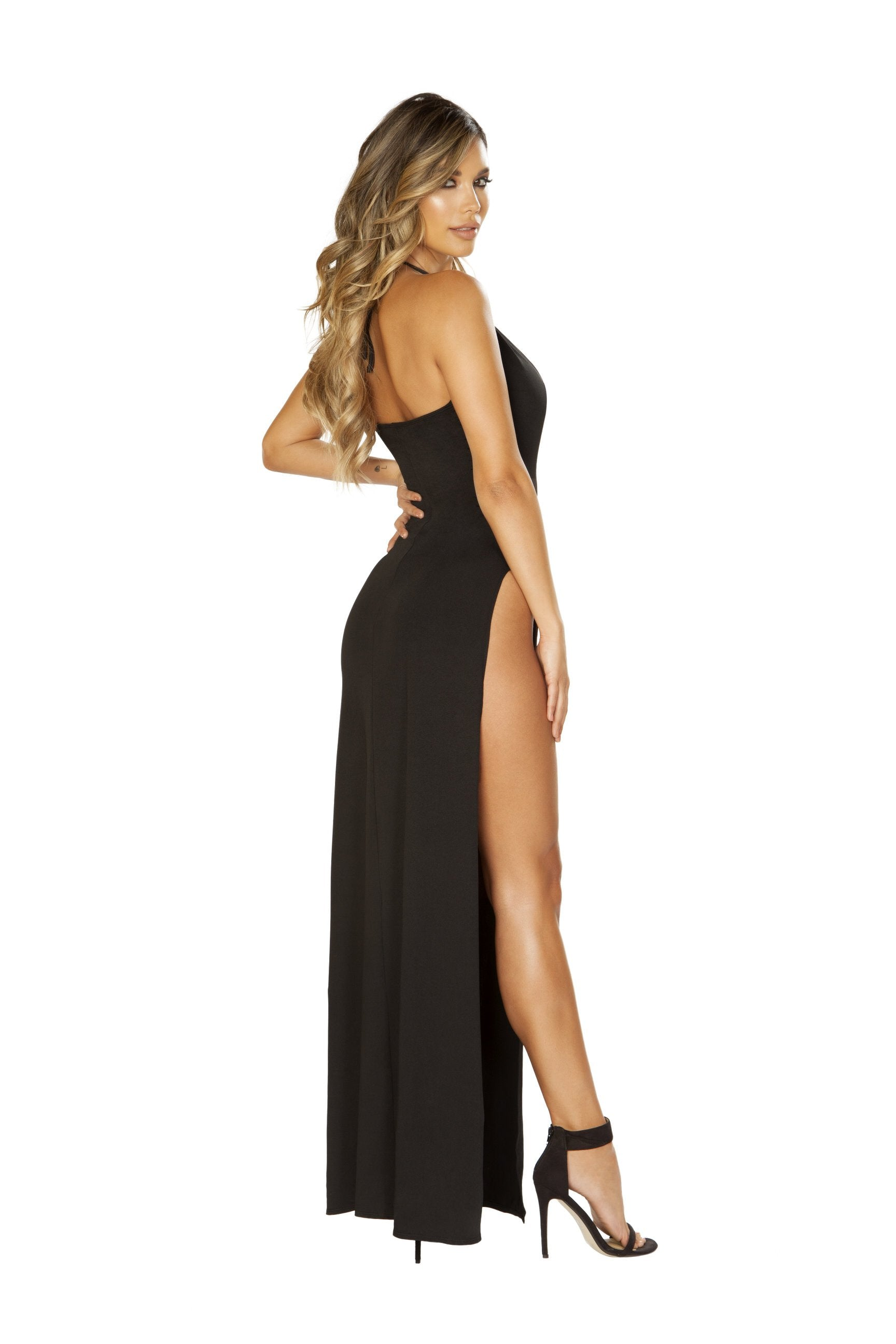 3647 - Maxi Length Dress with Deep V Detail & High Slit