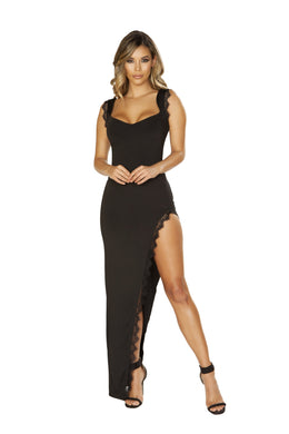 3655 - Maxi Length Dress with High Slit & Eyelash Lace Trim Detail, Women's Fashion - Women's Clothing - Maxis - Smash Marketing
