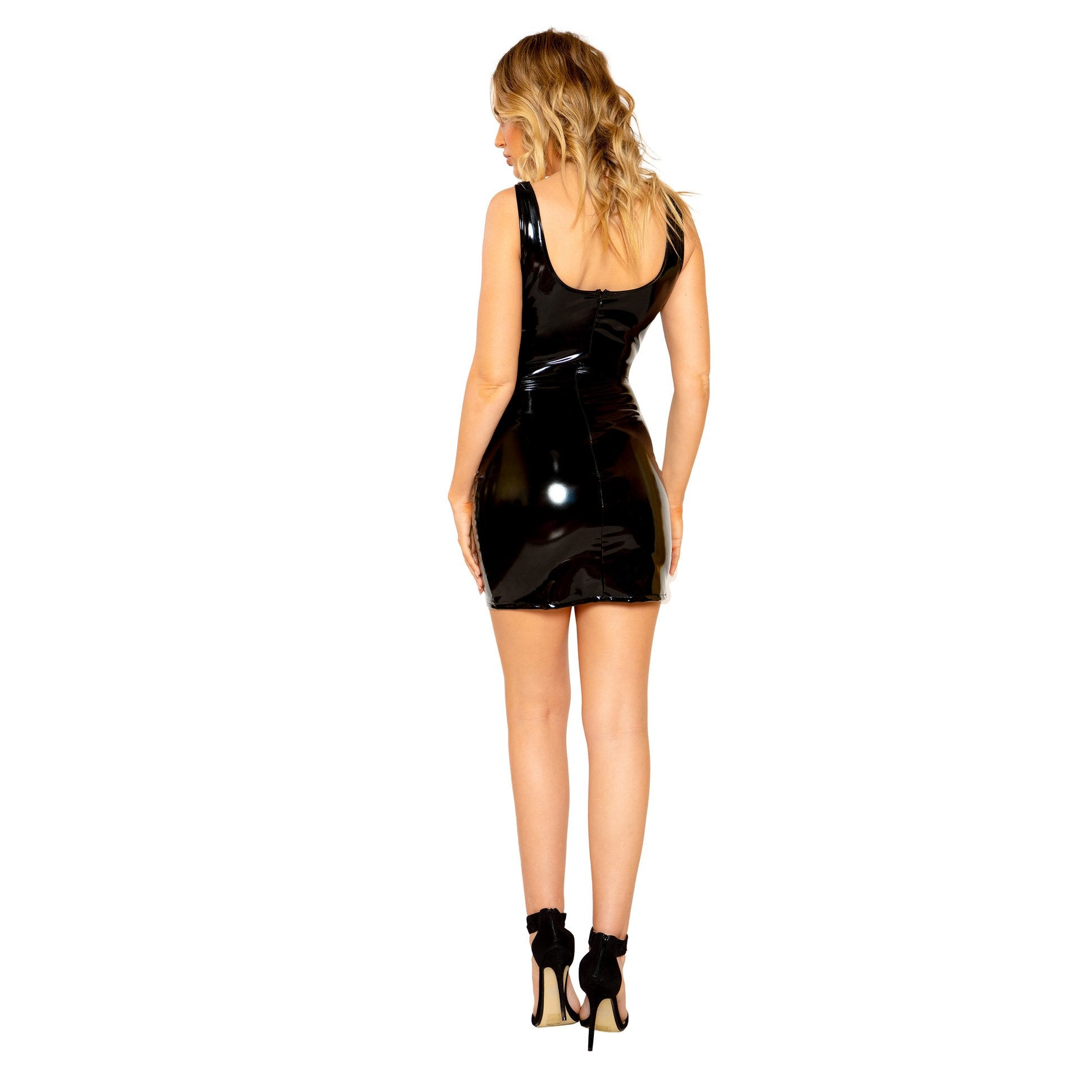 3792 - Stretch Vinyl Mini Dress with Zipper Closure
