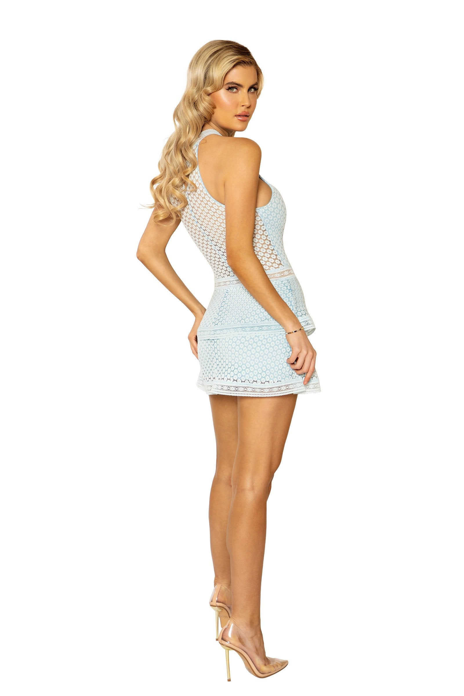 3938 - Lace Panel Tiered Bodycon Dress
