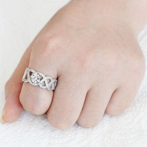 3W1577 Rhodium Brass Ring with AAA Grade CZ in Clear