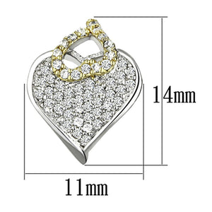 3W356 Reverse Two-Tone Brass Earrings with AAA Grade CZ in Clear