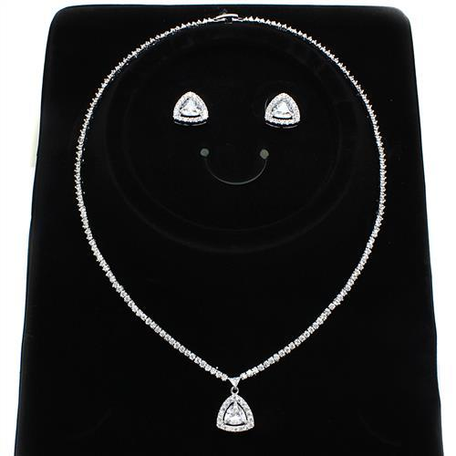 3W1244 Rhodium Brass Jewelry Sets with AAA Grade CZ in Clear