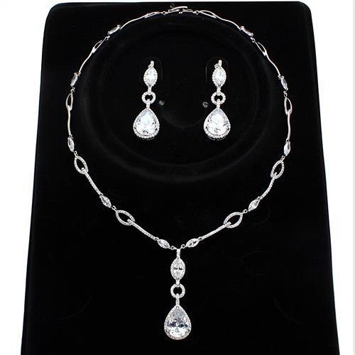 3W1247 Rhodium Brass Jewelry Sets with AAA Grade CZ in Clear