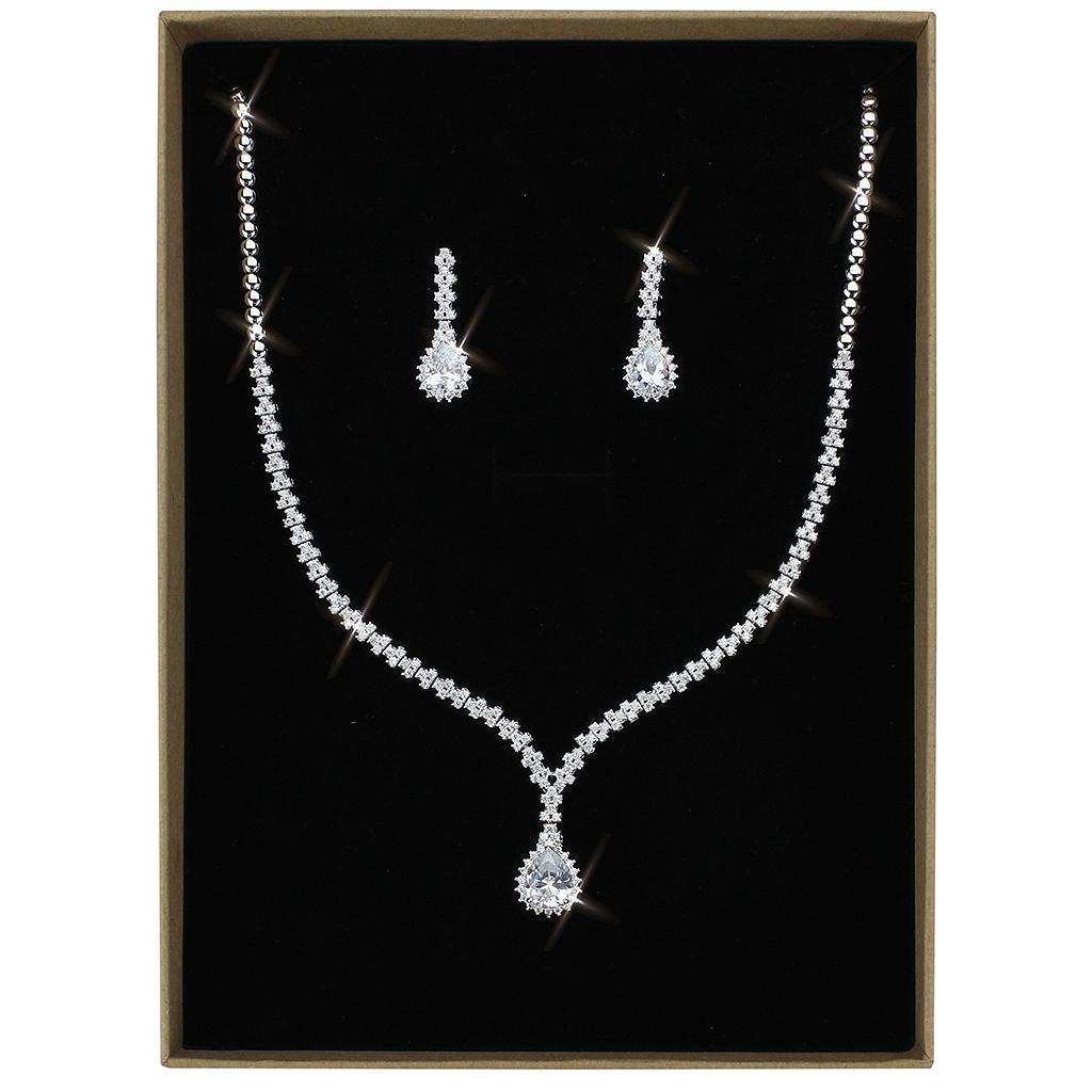 3W1430 Rhodium Brass Jewelry Sets with AAA Grade CZ in Clear
