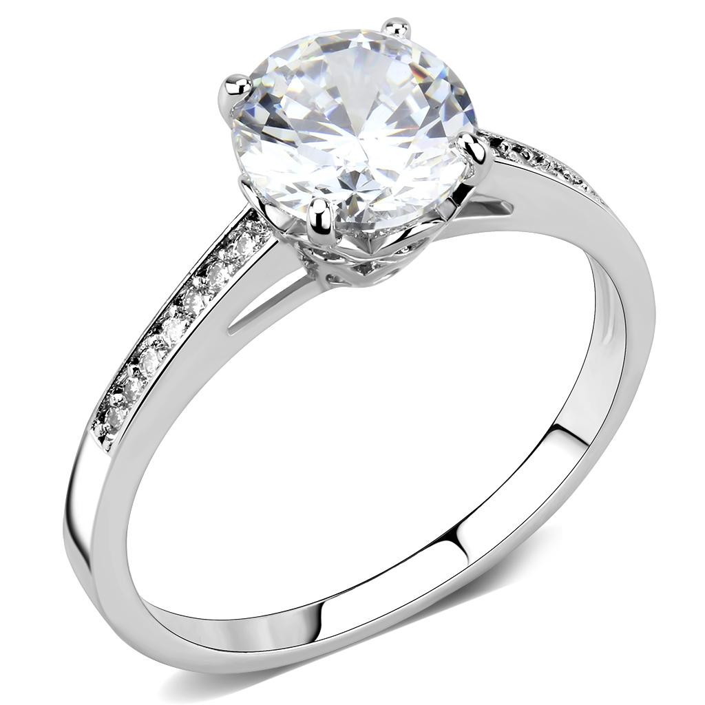 3W1573 Rhodium Brass Ring with AAA Grade CZ in Clear