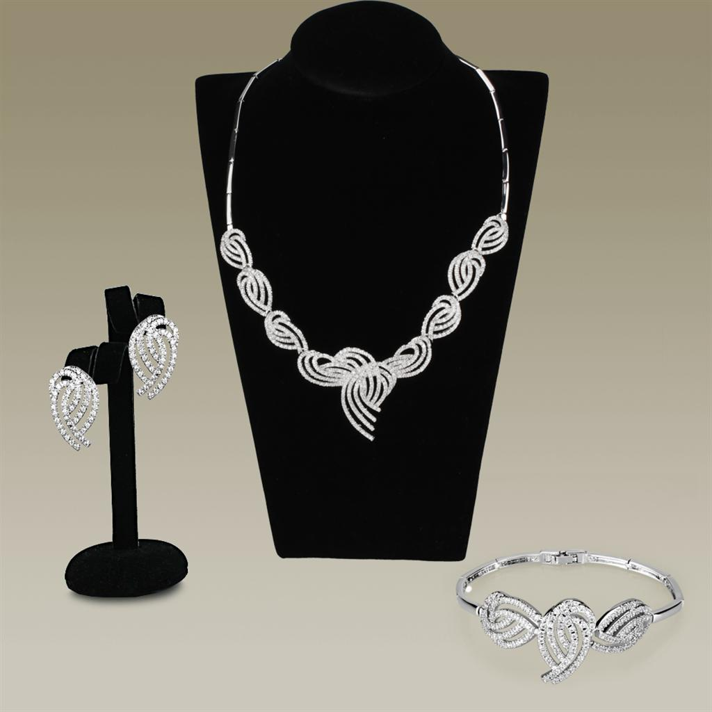3W923 Rhodium Brass Jewelry Sets with AAA Grade CZ in Clear