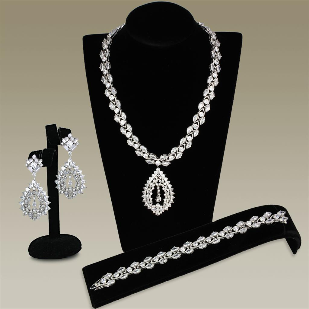3W933 Rhodium Brass Jewelry Sets with AAA Grade CZ in Clear
