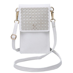 Lightweight Leather Phone Purse, Small Crossbody Bag Mini Cell Phone Pouch Shoulder Bag with 2 Straps for Women