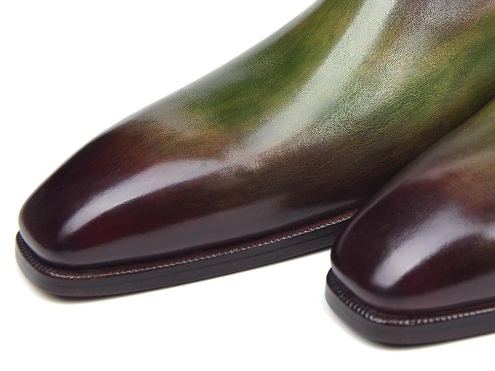 Paul Parkman Side Lace Oxfords Green & Bordeaux (ID#885F74)