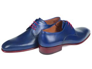 Paul Parkman Blue Hand Painted Derby Shoes (ID#633BLU13)