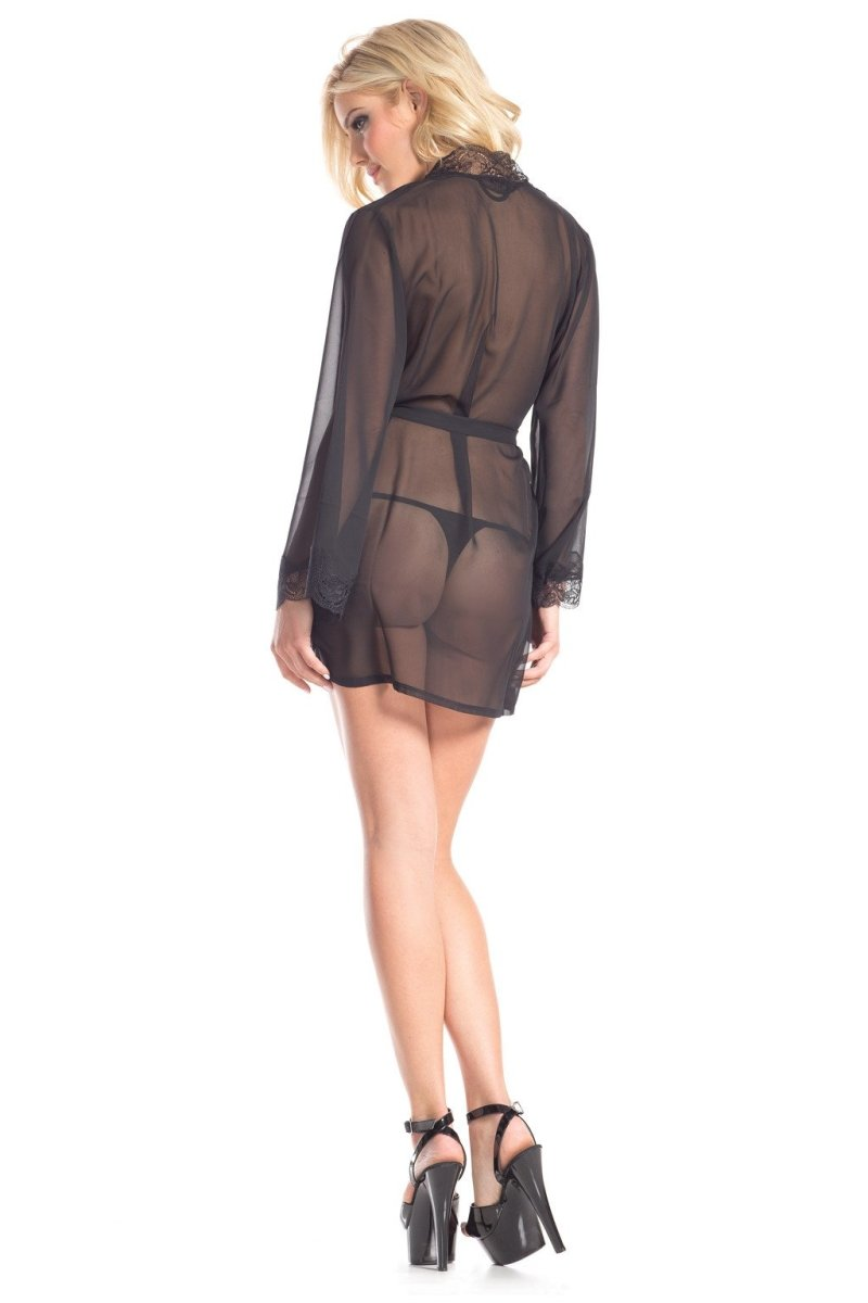 BW1629 Mesh Around Robe - Black