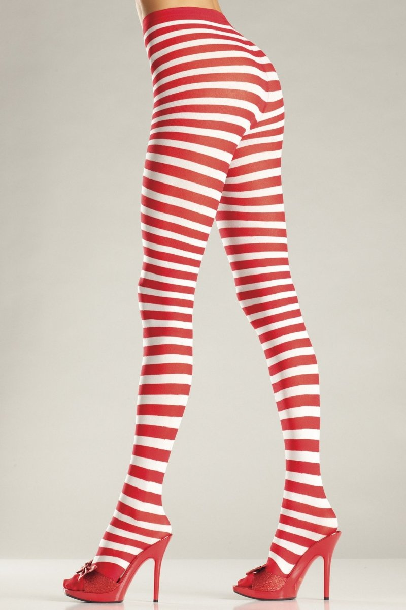BW517WR Seamingly Striped Pantyhose Candy Cane