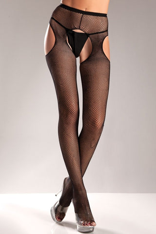 BW565B Fishnet Suspender Pantyhose
