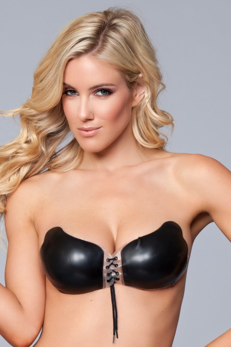 BWXW034BK Silicone Tie Up Bra - Black