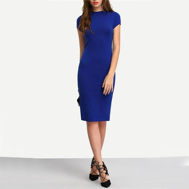 Women's Bodycon Short Sleeve Crew Neck Knee Length Dress, Women's Fashion - Women's Clothing - Bodycon - Smash Marketing