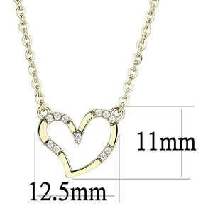 DA095 IP Gold(Ion Plating) Stainless Steel Chain Pendant with AAA Grade CZ in Clear