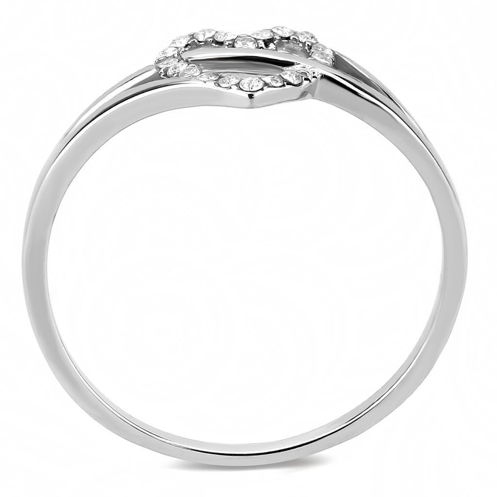 DA259 High polished (no plating) Stainless Steel Ring with AAA Grade CZ in Clear
