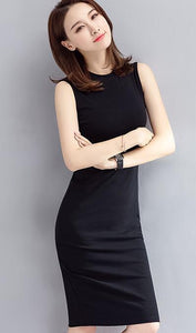 Black Sleeveless Round Neck Knee Length Midi Dress
