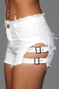J10WT Buckled Down Denim Shorts - White